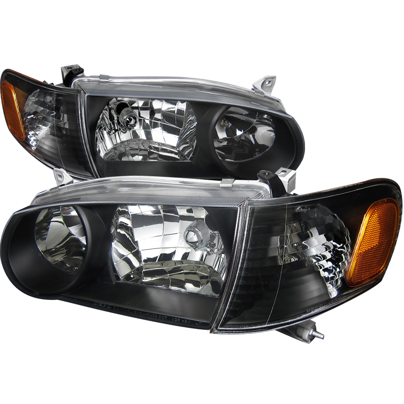 1pc Euro Headlights Black Housing For Toyota Corolla Years 2001 2002