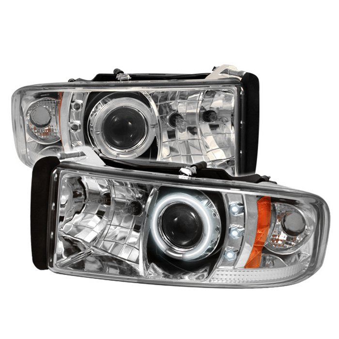 Dodge Ram 1500 94-01 / Ram 2500/3500 94-02 Projector Headlights - ( Do Not  Fit Sport Model ) - CCFL Halo - LED ( Replaceable LEDs ) - Chrome - High H1